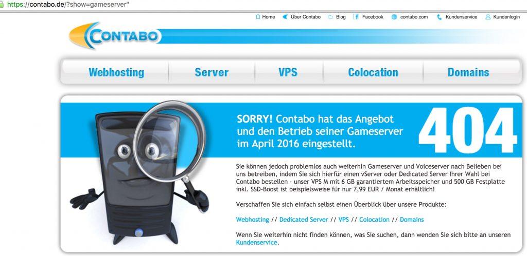Contabo bietet keine Gameserver mehr an 4.2016