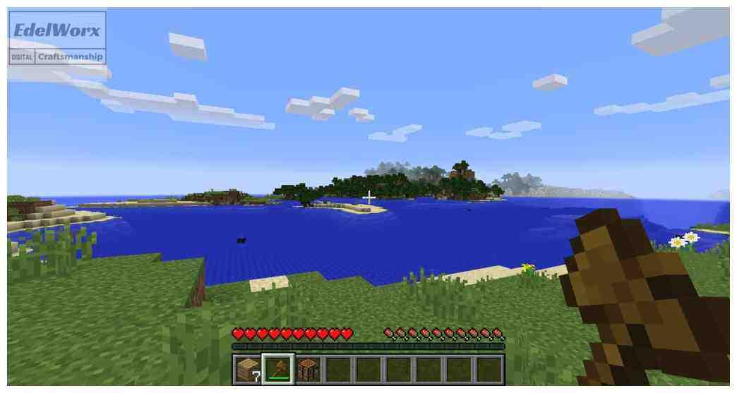 Einsteiger Anleitung für Minecraft: Weiterziehen und wertvolle Ressourcen sammeln , lerne schwimmen in Minecraft