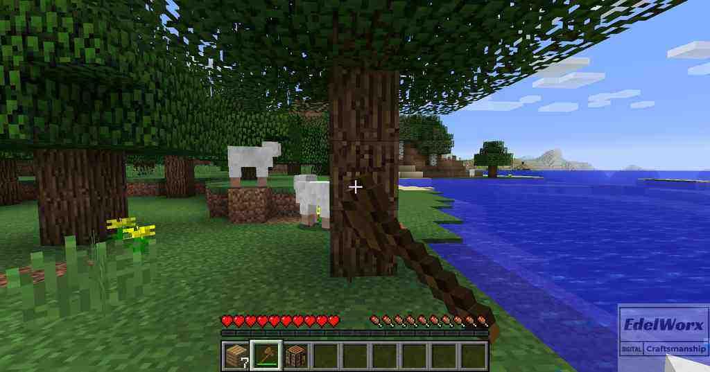 Einsteiger-Anleitung Minecraft Tag2 Bäume fällen mit der Axt