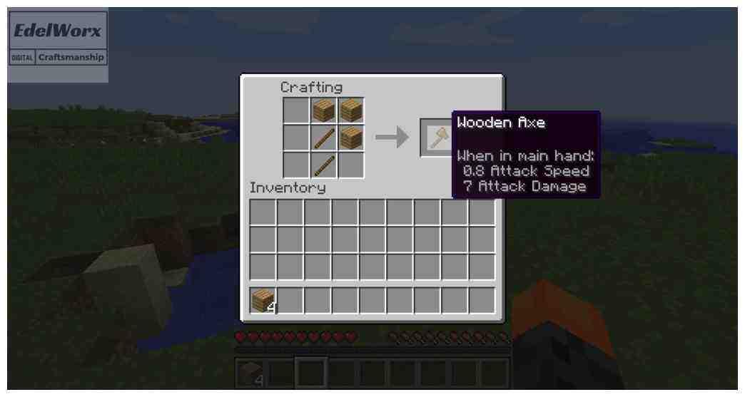 Einsteiger Anleitung für Minecraft: Wie man eine Axt craftet (erstellt)