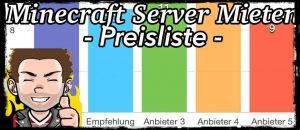Minecraft Server Mieten - Preisliste, Alle Anbieter im Vergleich,günstig,prepaid ab 1 GB RAM , 10 Slots, Standad Port,