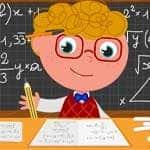Comic-junger Student beim Lösen von Aufgaben