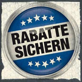 Rundes Logo mit Aufschrift Rabatte sichern auf Papierhintergrund
