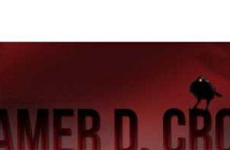 gamer d. crow youtube logo, Rotes Logo mit schwarzen Raben im Hintergrund