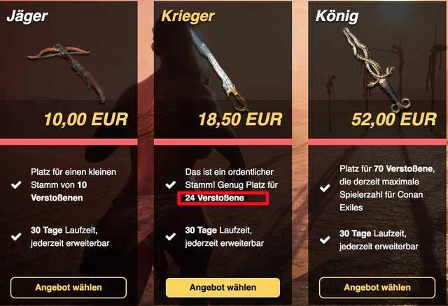 Preisvergleich für Conan Exiles Server zum Mieten für 20 Slots prepaid