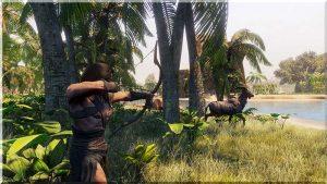Jäger mit Bogen jagt Gazelle in dem Spiel Conan Exiles
