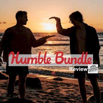 neuer Artikel über Plattform Humble Bundle bei uns erschiene. Bild zeigt zwei Freunde im Sonnenuntergang die sich die Hände reichen. mit Schriftzug Humble Bundle